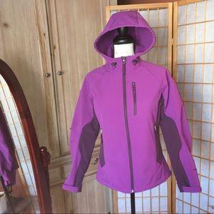Free Country Hooded Shell Fleece Jacket Purple S